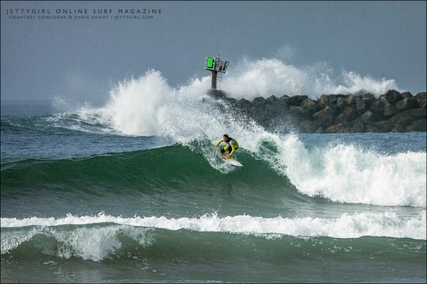 Courtney Conlogue rips one off the top in San Diego County. Surf photo by Chris Grant, Jettygirl Online Surf Magazine.