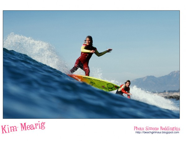 Kim Mearig. Photo © Simone Reddingius. Surfing photos of women surfers from the 1980's.