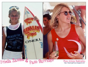 Frieda Zamba and Pam Burridge. Photo © Simone Reddingius. Surfing photos of women surfers from the 1980's.