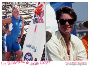 Liz Benavidez and Jodie Cooper. Photos © Simone Reddingius. Surfing photos of women surfers from the 1980's.