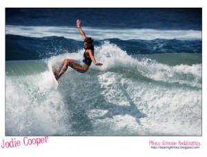 Jodie Cooper. Photo © Simone Reddingius. Surfing photos of women surfers from the 1980's.