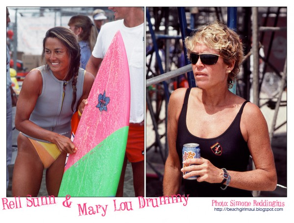 Rell Sunn and Mary Lou Drummy. Photos © Simone Reddingius. Surfing photos of women surfers from the 1980's.