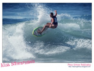 Alisa Schwarzstein. Photo © Simone Reddingius. Surfing photos of women surfers from the 1980's.