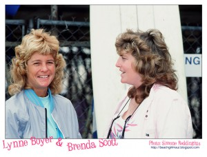 Lynne Boyer and Brenda Scott. Photo © Simone Reddingius. Surfing photos of women surfers from the 1980's.