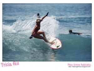 Tricia Gill. Photo © Simone Reddingius. Surfing photos of women surfers from the 1980's.
