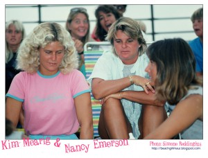 Kim Mearig and Nancy Emerson. Photo © Simone Reddingius. Surfing photos of women surfers from the 1980's.
