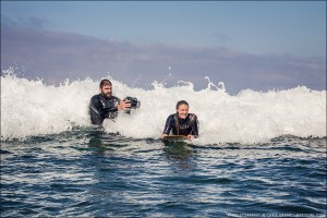Andrew Quinn and Kaley Swift. Paipo Stokefest, Scripps Pier, La Jolla, February 17, 2013. Photo by Chris Grant, Jettygirl Online Surf Magazine.
