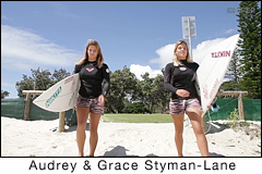 Audrey and Grace Styman-Lane. No Ordinary Surfing Sisters. Surf video clip by ABC North Coast NSW.