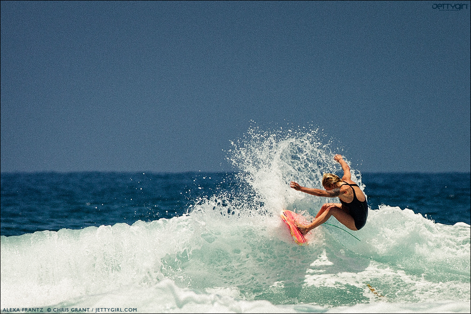 Alexa Frantz hits the lip at Scripps, La Jolla, California. Surf photo by Chris Grant, Jettygirl Online Surf Magazine.