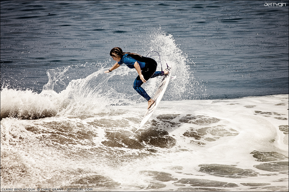Claire Bevilacqua, backside air in San Clemente, California - surf photo by Chris Grant, Jettygirl.com
