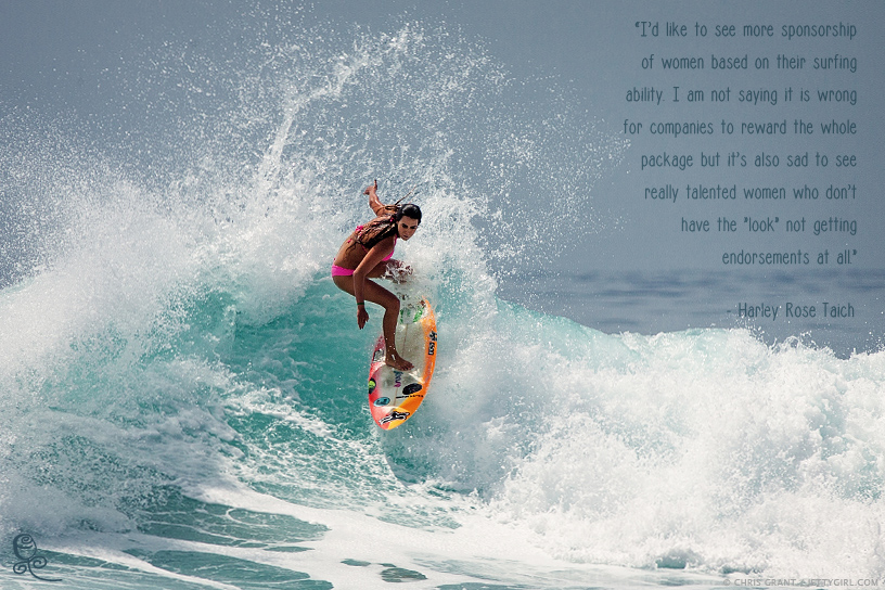 Harley Taich's quote about women's surfing sponsorships. Surf photo by Chris Grant, Jettygirl.com