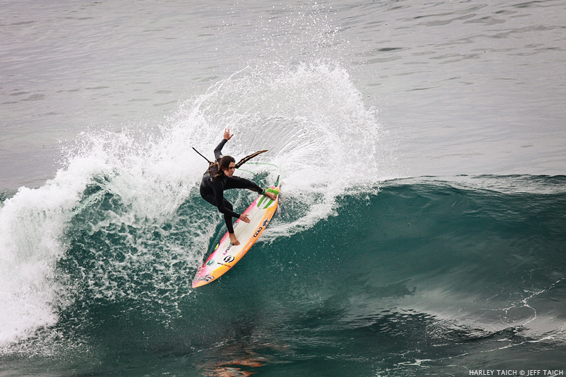 Harley Taich throws a hook at Windansea. Surf photo courtesy of Jeff Taich.
