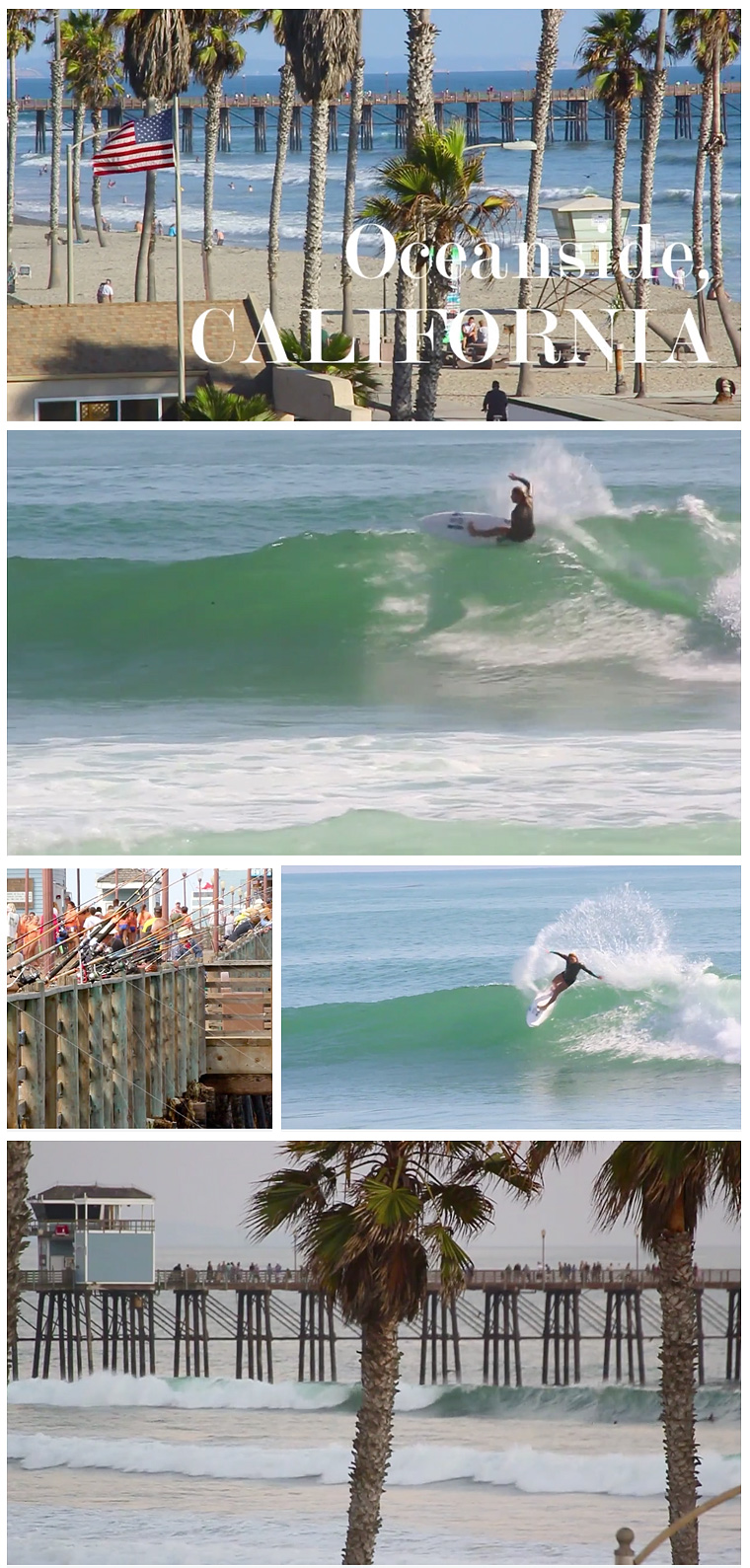 Dimity Stoyle photo collage from the video Oceanside, California. Now playing on Jettygirl Online Surf Magazine