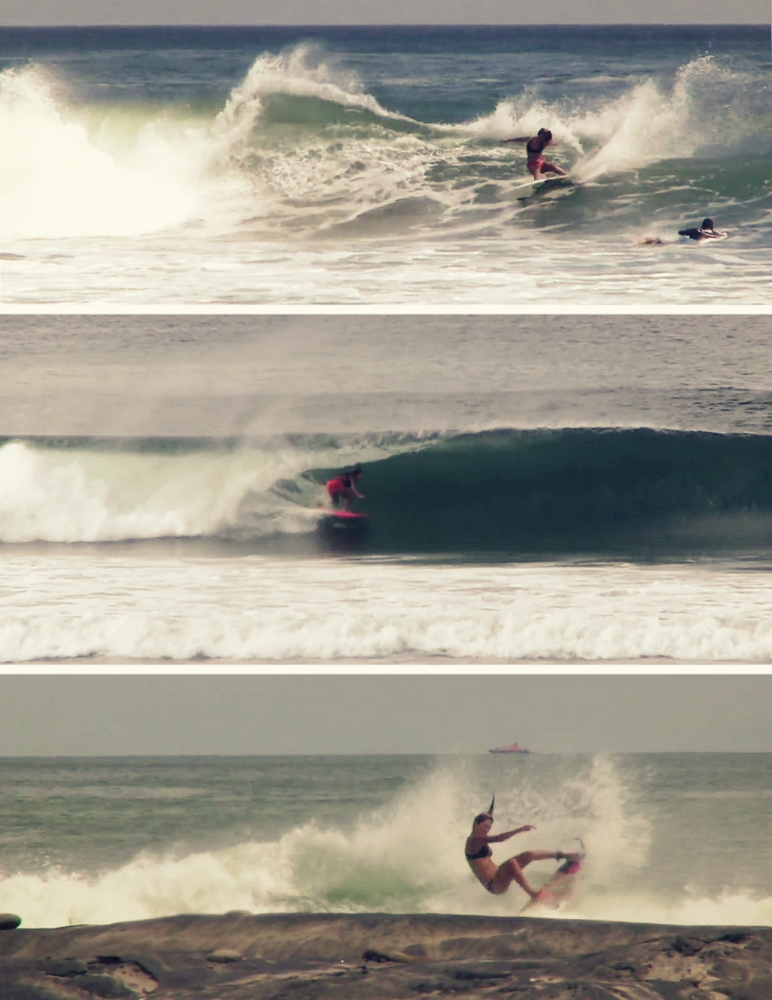 Frame grabs of Steffi Kerson surfing in Nicaragua during the Summer of 2013