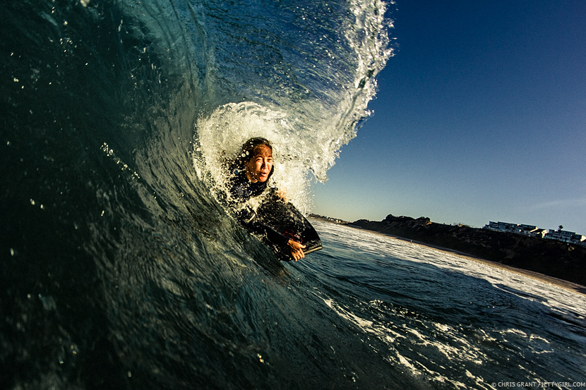 Barreled with Hawaiian Kamalehua Keohokapu. Photo © Chris Grant, Jettygirl Surf Mag