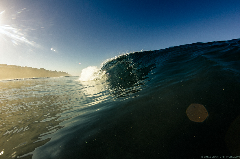 Barreling left during bodyboard session with Kamalehua Keohokapu. Surf photo © Chris Grant, Jettygirl Online Surf Magazine