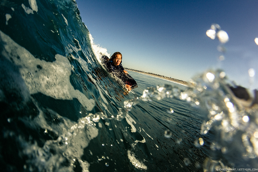 Dropping in with Hawaii's Kamalehua Keohokapu. Surf photo © Chris Grant, Jettygirl.com