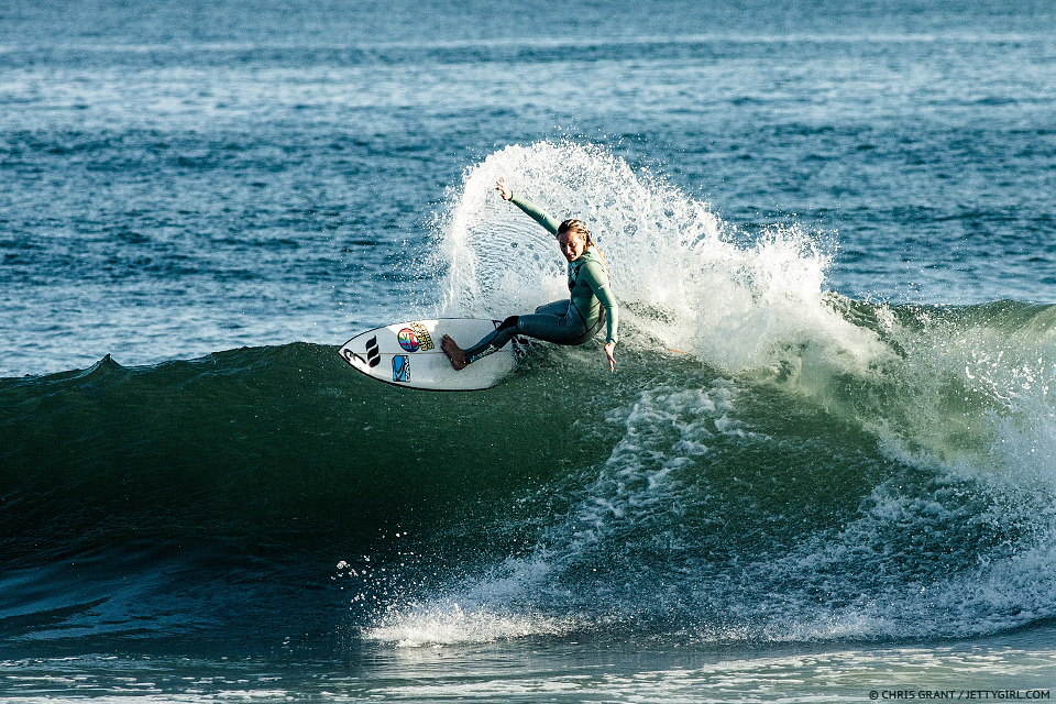 Skye Burgess throwing spray at Trestles. Photo © Chris Grant, Jettygirl Online Surf Magazine