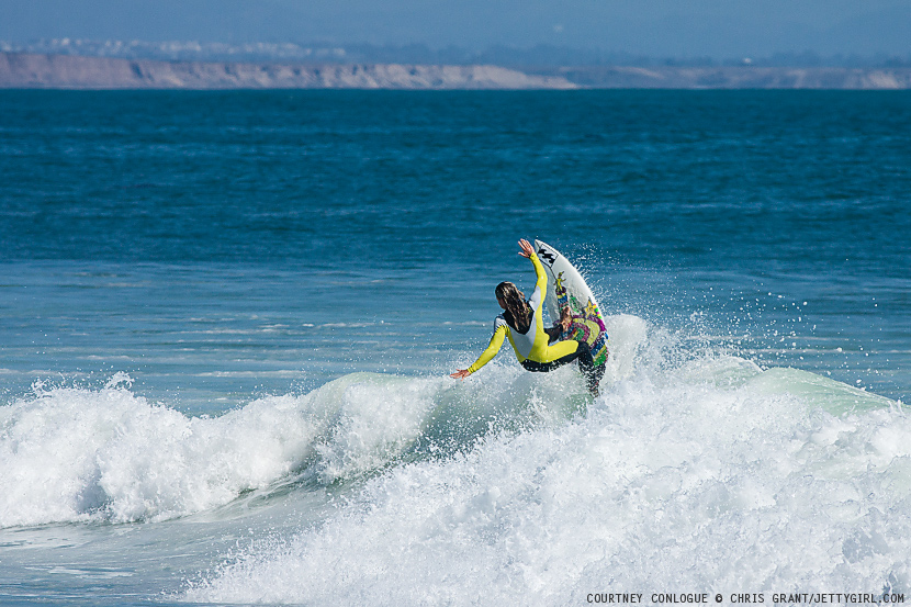 California's top-ranked female pro surfer, Courtney Conlogue, gets one last hit off a foamy section at Lower Trestles. Surf photo by Chris Grant, Jettygirl Online Surf Magazine.