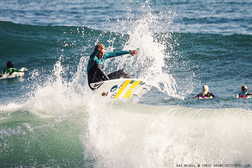Hawaiian surfer, Dax McGill, punts a nice frontside air on a fun afternoon Lowers left. Surf photo by Chris Grant, Jettygirl Online Surf Magazine.
