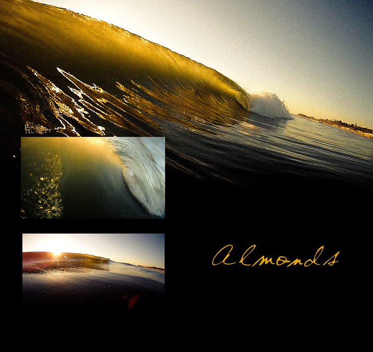 Frame grabs from Almonds, three empty waves breaking on a beautiful California afternoon - Jettygirl.com