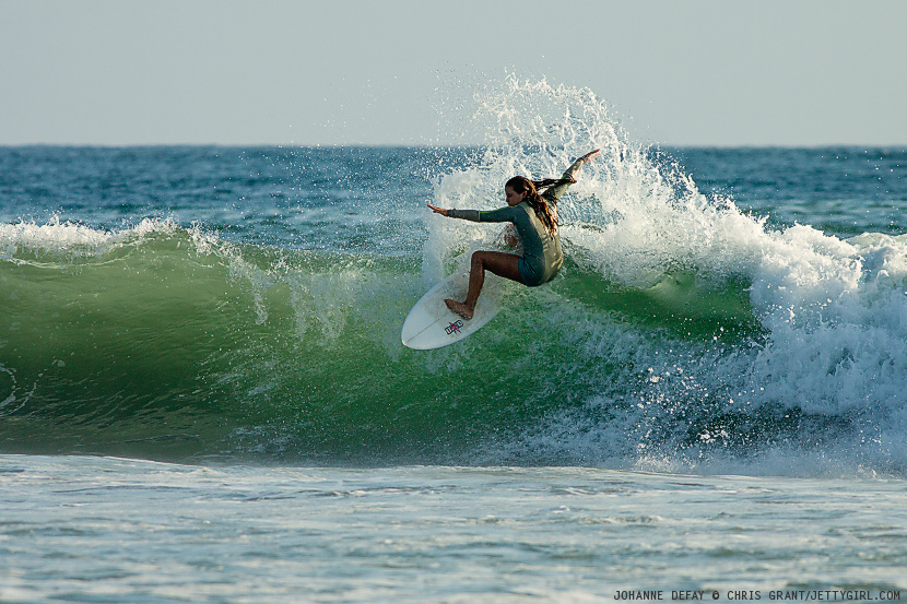 French surfer, Johanne Defay, hits the closeout on a sunny, Southern California afternoon. Surf photo by Chris Grant, Jettygirl Online Surf Magazine.