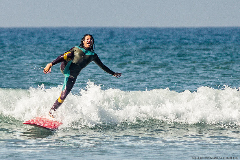 All smiles with Kelia Moniz in Oceanside. Photo © Chris Grant, Jettygirl Online Surf Magazine
