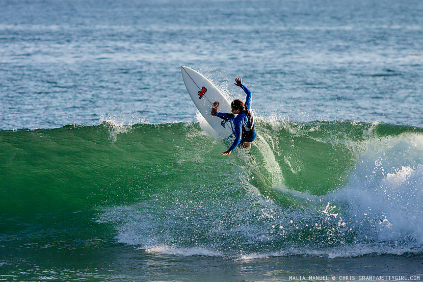 Hawaiian pro surfer, Malia Manuel, testing out new boards on a clean afternoon at Lowers. Surf photo by Chris Grant, Jettygirl Online Surf Magazine.