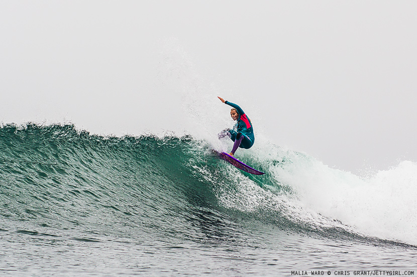 Malia Ward throws down a nice layback snap on an overcast day at Lower Trestles, California. Surf photo by Chris Grant, Jettygirl Online Surf Magazine.