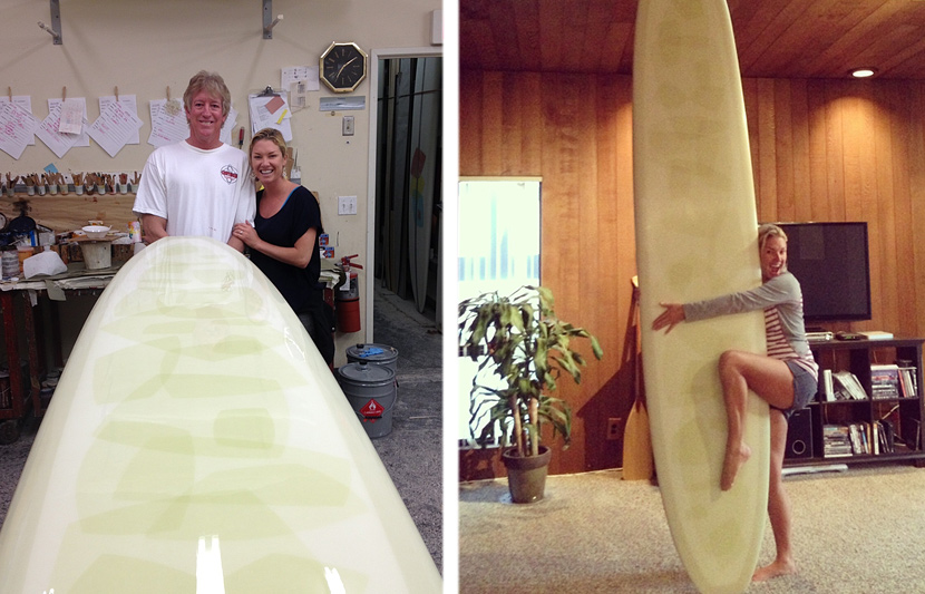Mary Osborne and Gene Cooper with Mary's new Cooperfish singlefin surfboard.