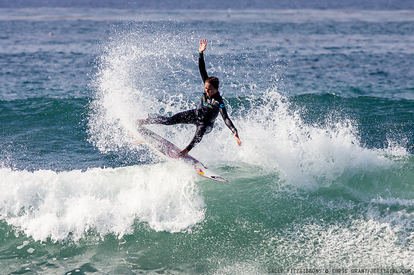 Sally Fitzgibbons fin throw at Lowers. Surf photo by Chris Grant, Jettygirl Online Surf Magazine.