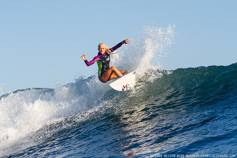 Hawaiian surfer, Tatiana Weston-Webb, hooks a turn on an afternoon Lowers left. Surf photo by Chris Grant, Jettygirl Online Surf Magazine.