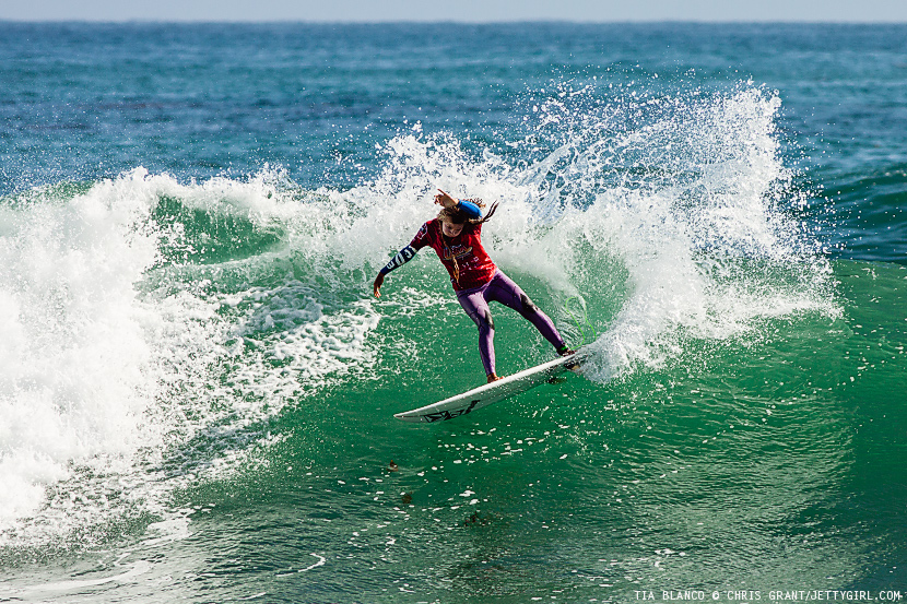 Tia Blanco gouges a fun Lowers left during the 2013 Surfing America USA Championships. Surf photo by Chris Grant, Jettygirl Online Surf Magazine.