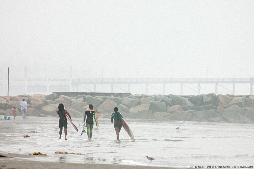 Megan Godinez, Bruna Schmitz and Geodee Clark say goodbye to Oceanside. Photo © Chris Grant, Jettygirl.com
