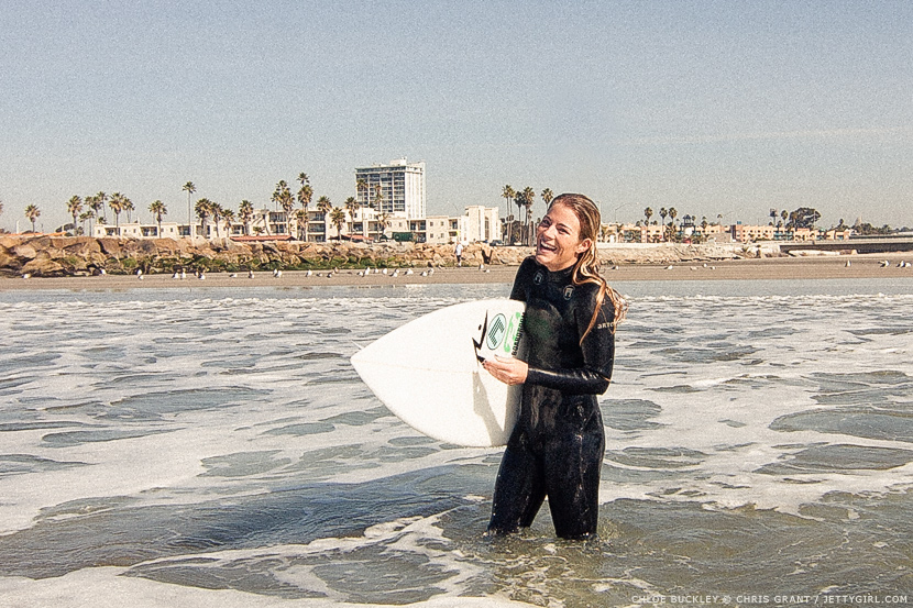 Chloe Buckley, all smiles after a unorthodox but classic surf session. Photo by Chris Grant, Jettygirl.com
