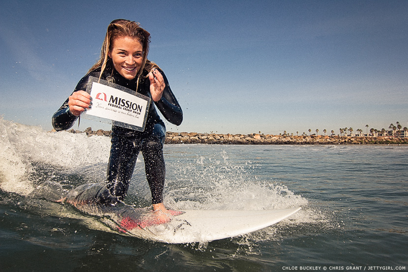 Chloe Buckley surfs a tiny wave in Oceanside. Surf photo by Chris Grant. Jettygirl Online Surf Magazine.