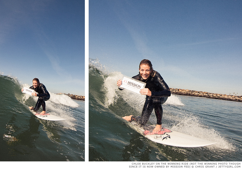 Chloe Buckley rides the $500 winning wave. Surf photo by Chris Grant, Jettygirl Online Surf Magazine.