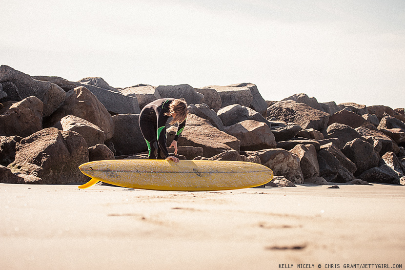 Kelly Nicely and her yellow Donald Takayama single fin surfboard. Photo by Chris Grant, Jettygirl Online Surf Magazine