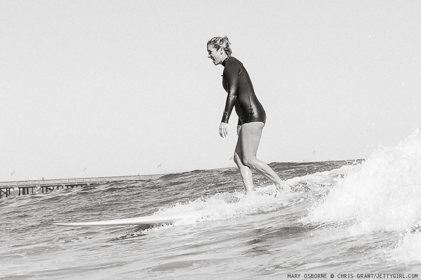 Mary Osborne, timeless surf style in Ventura, California. Surf photo by Chris Grant, Jettygirl Online Surf Magazine.