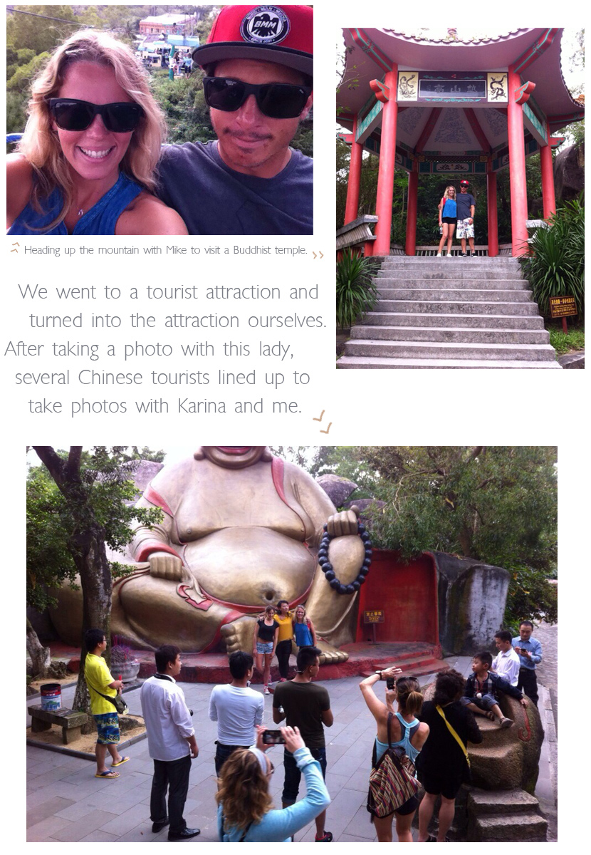 Tory Gilkerson and Karina Rozunko become tourist attractions in China. Tory and Mike Stidham visit a Buddhist temple in the mountains. Featured on Jettygirl Online Surf Magazine.