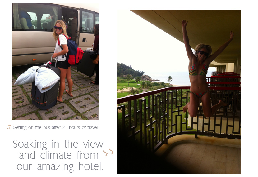 Tory Gilkerson boards a bus in China then jumps for joy at the amazing view from her hotel on Hainan Island, China. Jettygirl Online Surf Magazine.