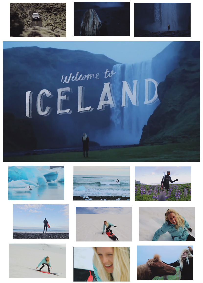 Frame grabs from I'm Laura, Episode 3. Surfer Laura Enever in Iceland.
