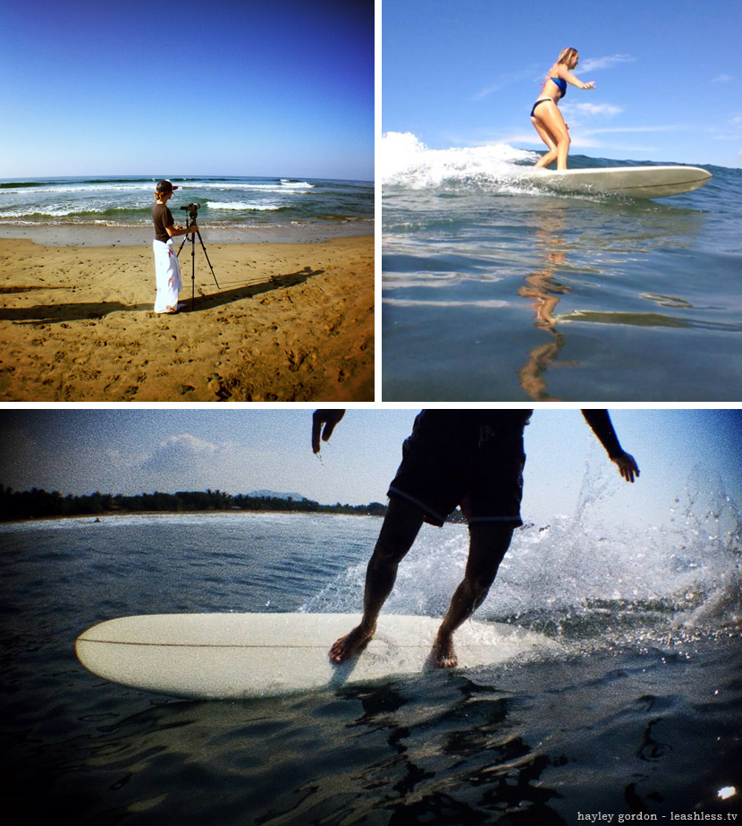 Shooting photos and riding lefts in Mexico. Surf photo by Hayley Gordon of leashless.tv