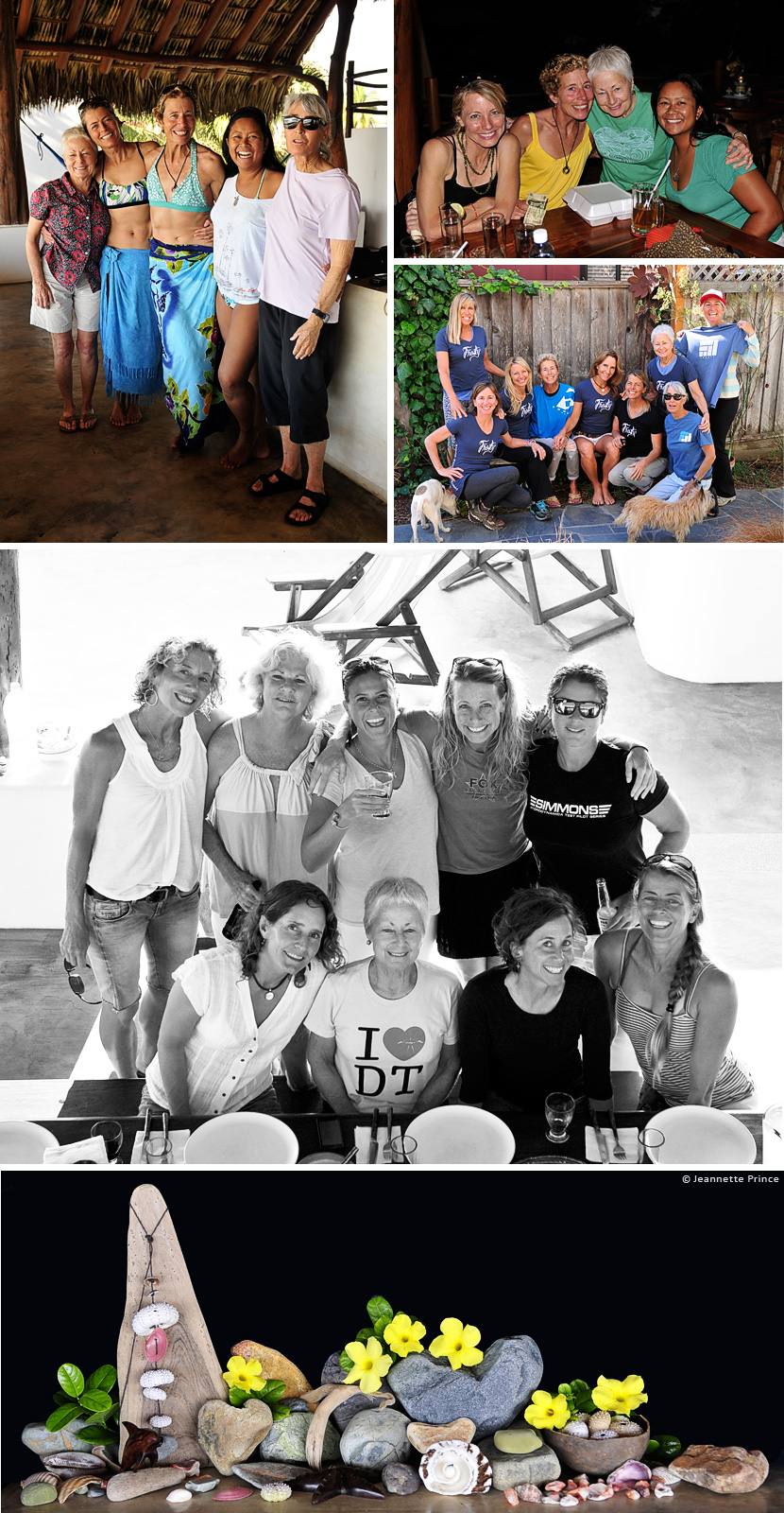 Zeuf Hesson and friends on a surf trip to Mexico. Linda Benson, Mary Bagalso, Ashley Lloyd, Heather Hudson, Kristy Murphy, Jeannette Prince, and Cat Slatinsky. Photos © Jeannette Prince.