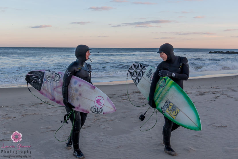 Casey and Jess Kwiecinski head up the beach after an epic New Jersey Polar Vortex surf. Photo by Laurie Glasser Photography. K Twins on Jettygirl Online Surf Magazine.