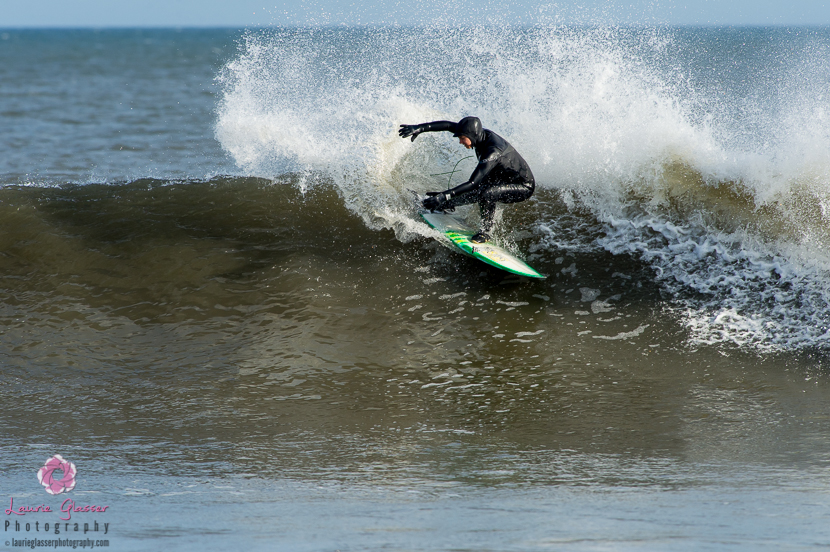 Frontside snap by Jessica Kwiecinski during New Jersey's polar vortex. Surf photo by Laurie Glasser Photography. K Twins on Jettygirl Online Surf Magazine.