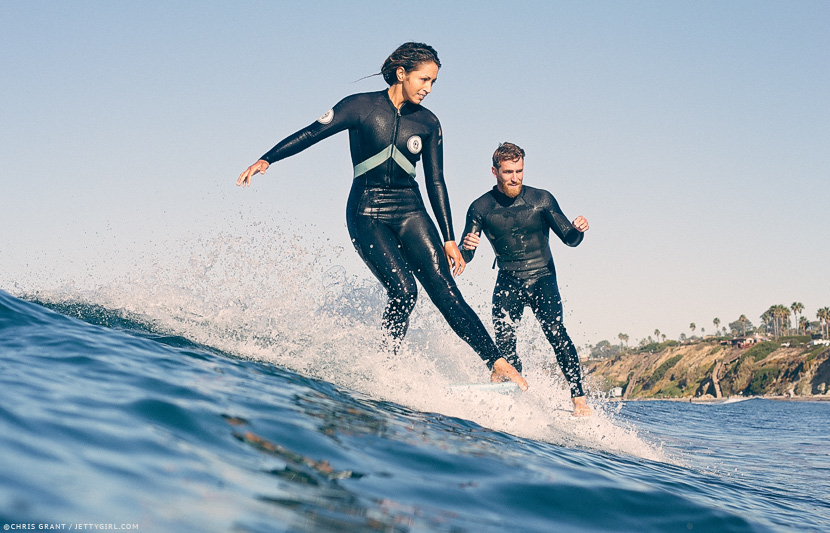 Mele Saili and Hayden Lane, double noserides at Cardiff Reef. Chris Grant surf photo on Jettygirl Online Surf Magazine.