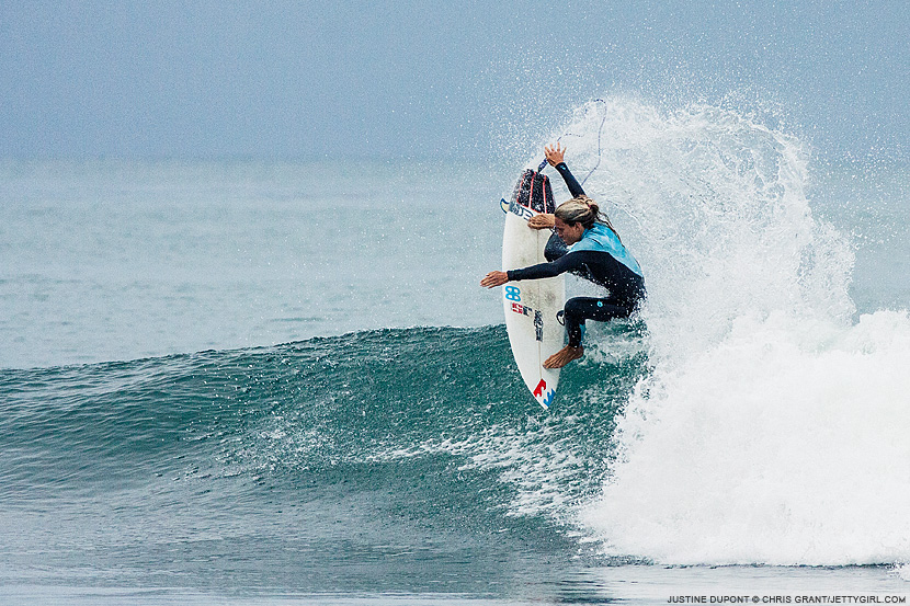 Justine Dupont fin throw. Chris Grant surf photo on Jettygirl Online Surf Magazine.