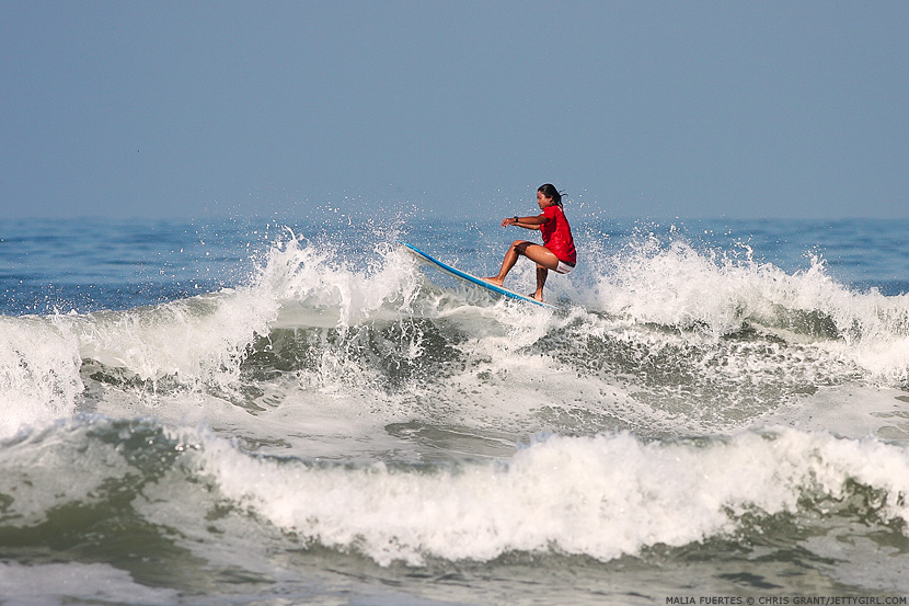 Malia Fuertes, Oceanside floater, July 2005. Chris Grant photo on Jettygirl Online Surf Magazine.