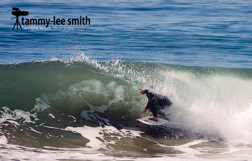 Tammy Lee Smith pulling into a Newport Beach barrel. Single Wave Thursday on Jettygirl Online Surf Magazine.